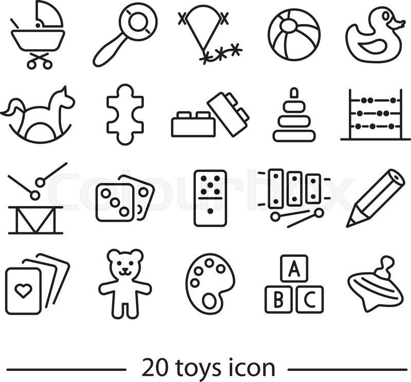 collection of toys line icons stock vector colourbox