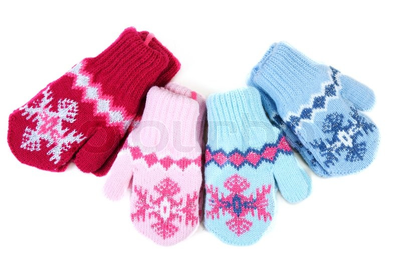Baby Knitted Mittens With Pattern On White Background Stock Photo