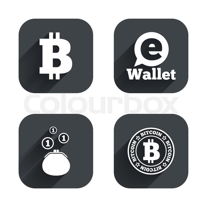 Bitcoin Icons Electronic Wallet Sign Cash Money Symbol Square Flat Buttons With Long Shadow Vector