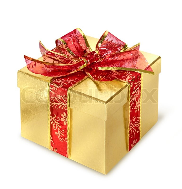 golden present surprise box with red wrap and bow stock photo