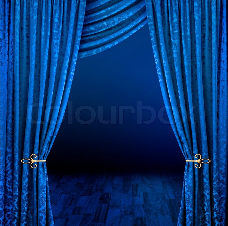 Blue stage curtains open | Stock Photo | Colourbox