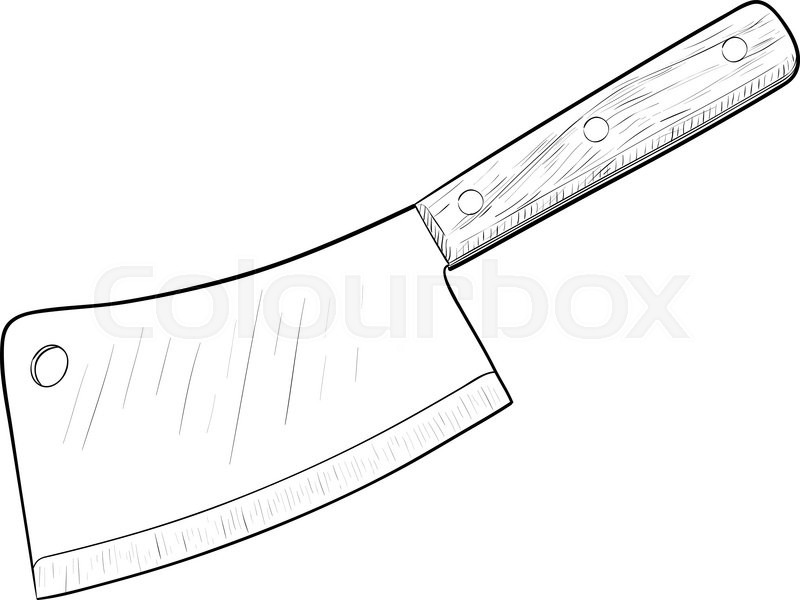 Kitchen Knife Hand Drawn Sketch Stock Vector