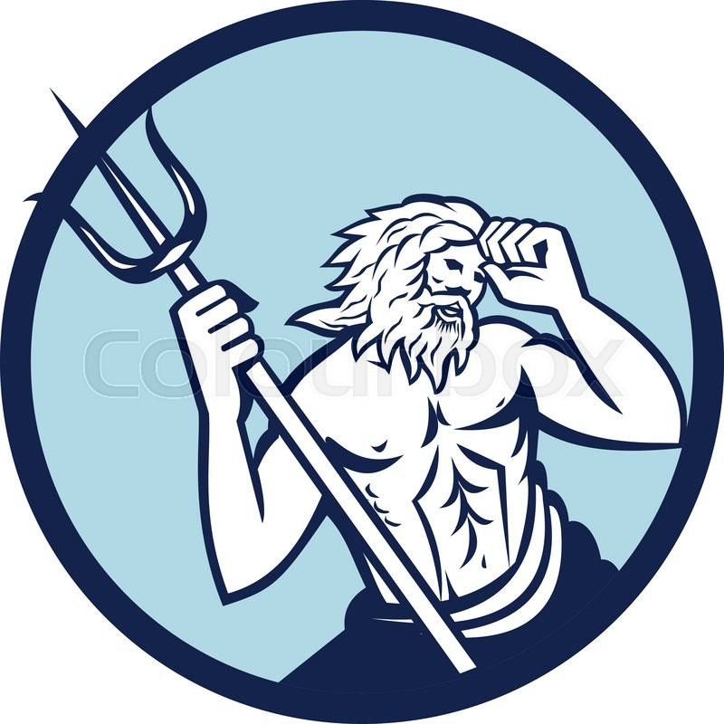 Illustration Of Poseidon God Of The Sea Holding Trident Viewed From