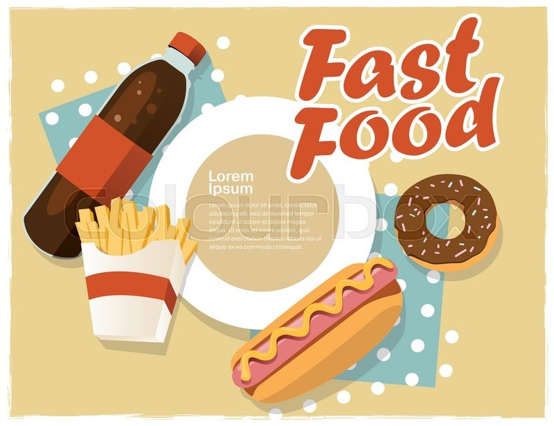 Fast Food Concept Banner Flat Style Template With Text Window Vector