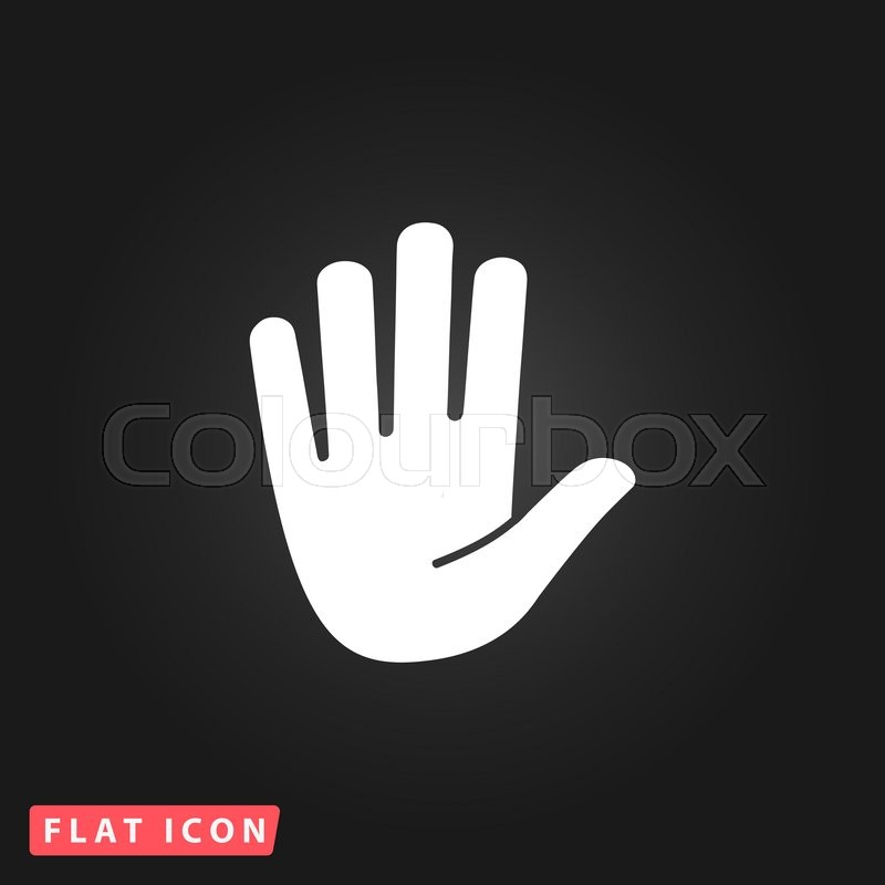 Stop Hand White Flat Simple Vector Icon On Black Background