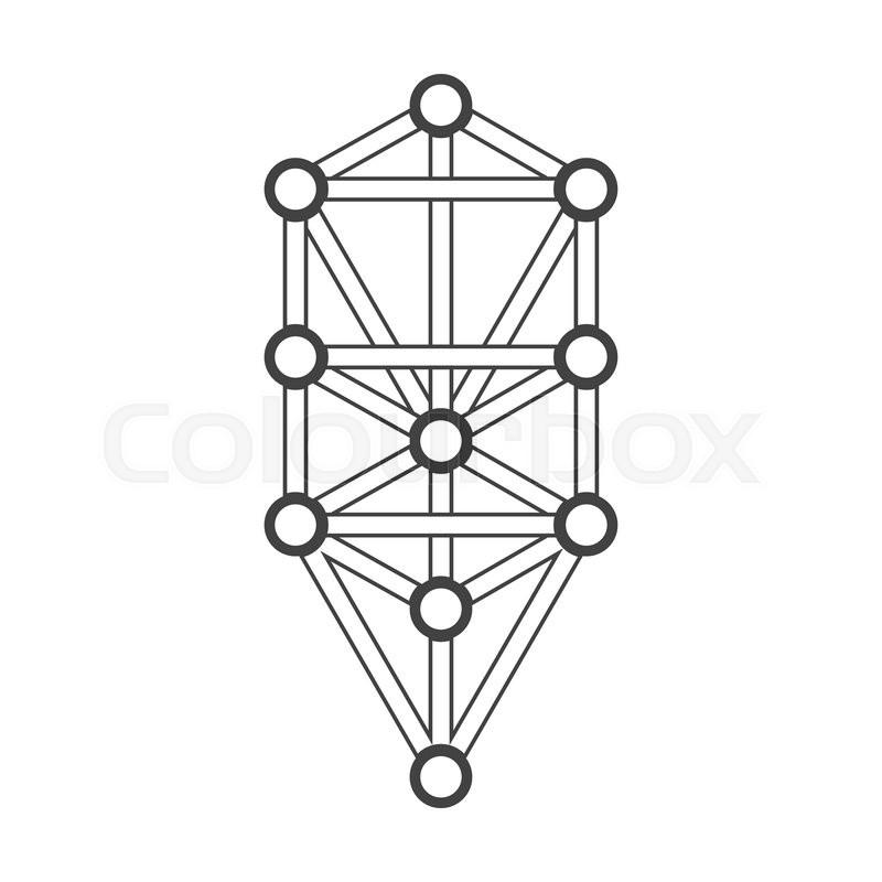Vector Black Outline Tree Of Life Illustration Kabbalah Diagram