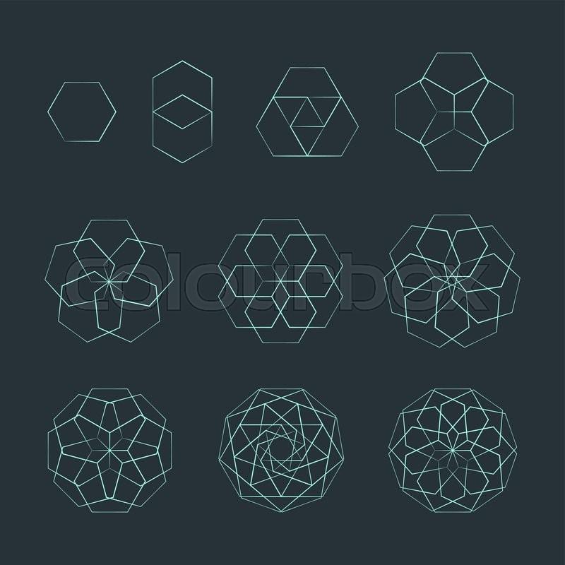 vector hexagon light outline monochrome variations sacred geometry