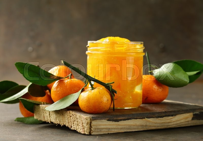 Natural organic canned mandarin (orange) in syrup, stock photo