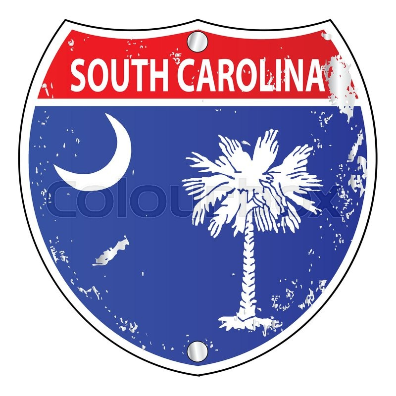 south carolina flag icons as an interstate sign over a white