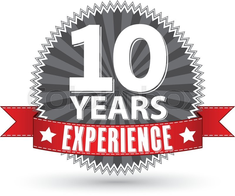 10 years experience retro label with red ribbon  vector illustration