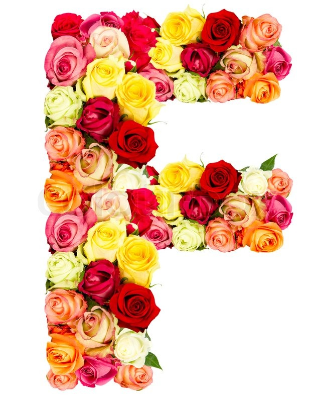 f roses flower alphabet isolated on white stock photo colourbox. Black Bedroom Furniture Sets. Home Design Ideas