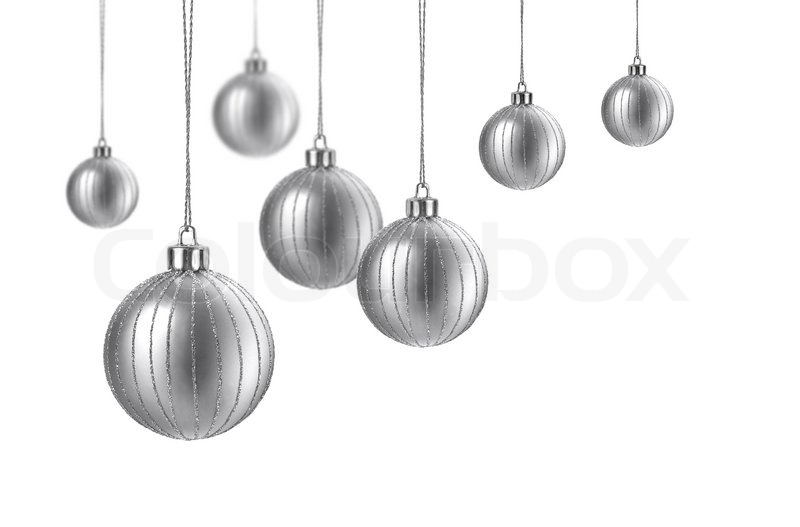 Silver Matte Christmas Decoration Balls Hanging On White Background Stunning Silver Balls Decor