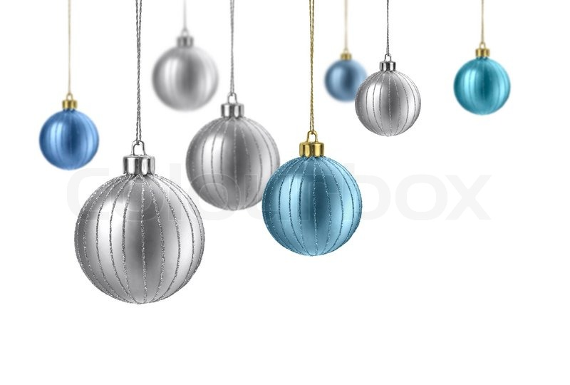 Silver And Blue Matte Christmas Decoration Balls Hanging On White Gorgeous Silver Balls Decor