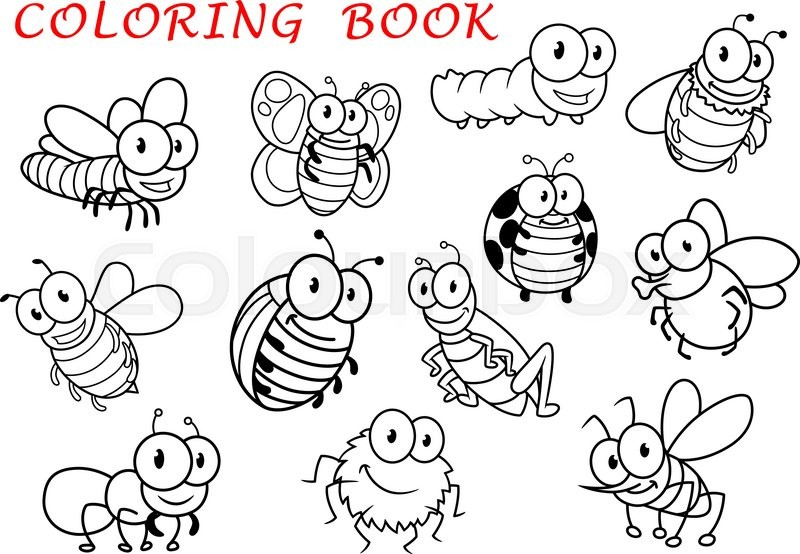 Isolated Outline Insect Animals Characters Vector 17652301 on Spring Bee Coloring Pages 9 2