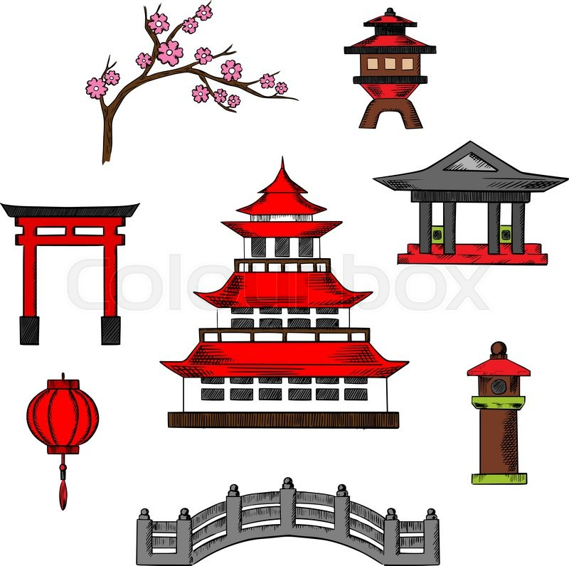 Stock Vector Of Japan Travel And Culture Icons Traditional Japanese Pagoda With Red Roof