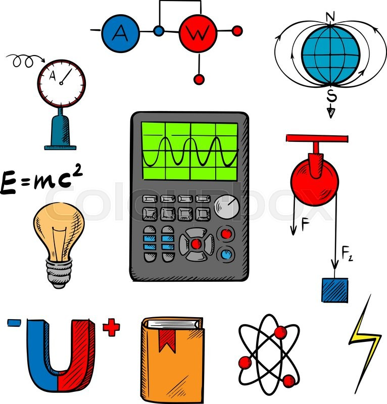 Physics Science Symbols Such As Magnet Electric Power Atom Model