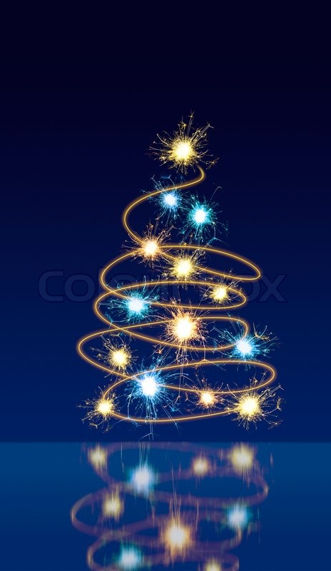 moving sparkling lights forming shape of christmas tree on dark blue background with reflection stock photo colourbox