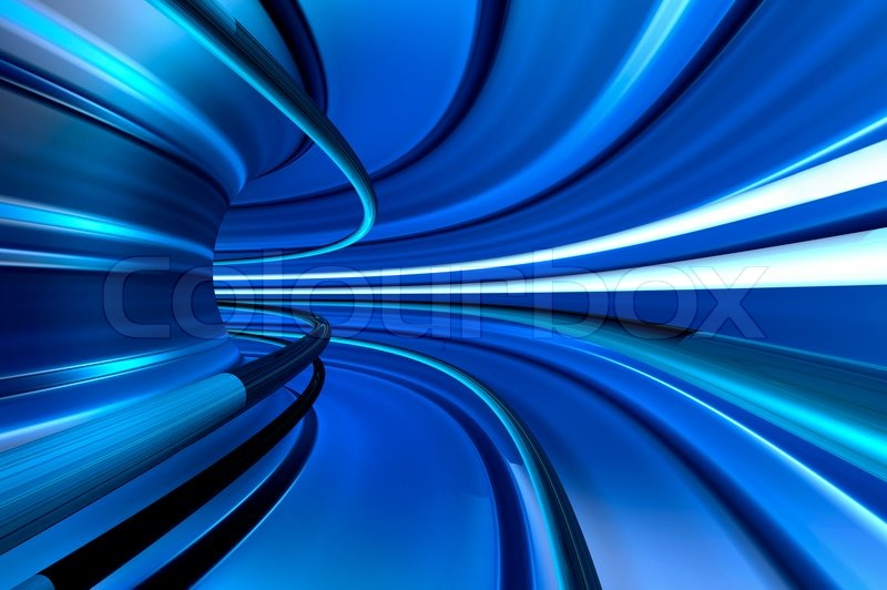 Blue tunnel of high velocity movement | Stock Photo ...