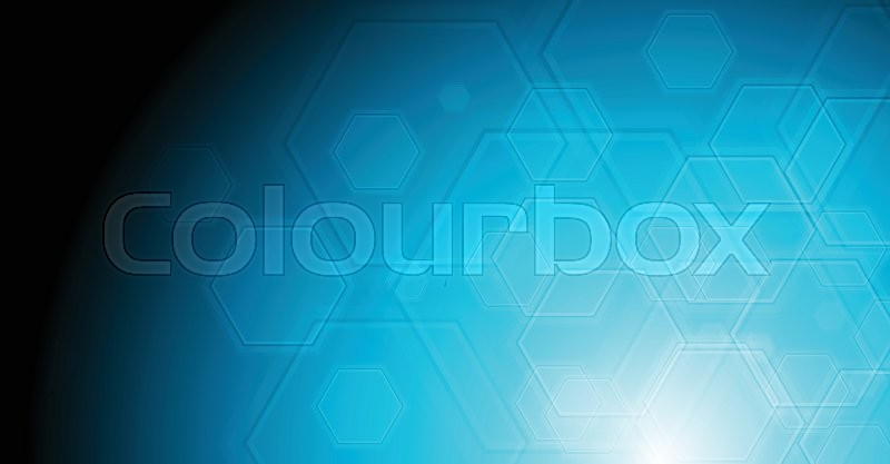 66b984ce16 Geometric hexagon elements on blue background. Vector technology  illustration with gradient light effect