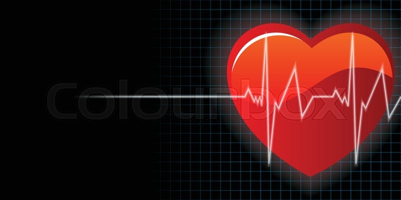 Heart and heartbeat background vector | Stock Vector ...