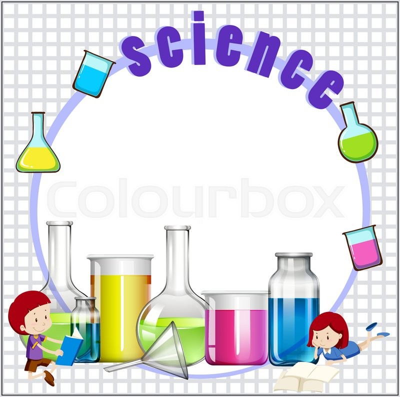 border design with children and science equipments Black and White Border Clip Art School Clip Art Borders and Frames