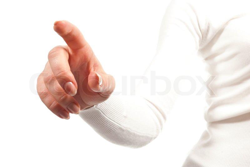weibliche hand mit ausgestrecktem zeigefinger. Black Bedroom Furniture Sets. Home Design Ideas