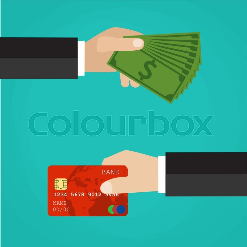 Hand with credit card and hand with cash. Payment methods, cash-out ...