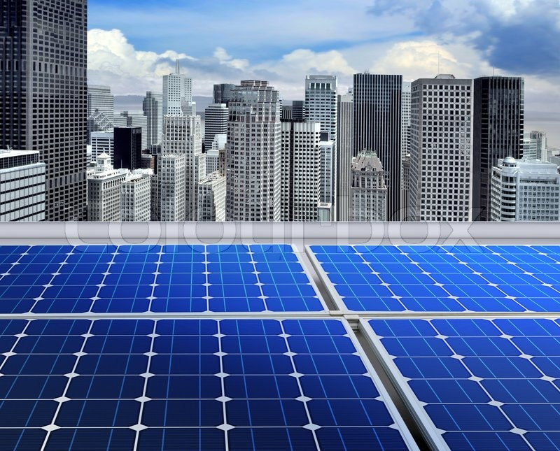Solar Panels On The Roof Of Modern Skyscraper Stock