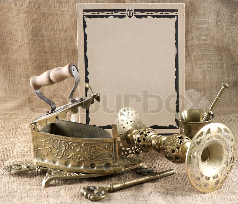 Vintage background with old things   Stock Photo