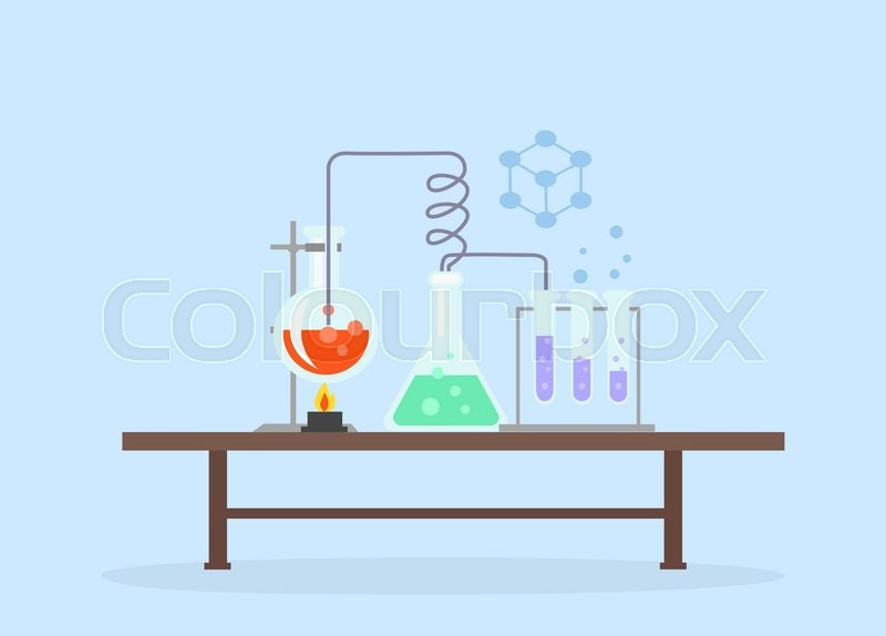 Biology laboratory workspace and science equipment concept. Medical laboratory. Chemistry laboratory workspace and science equipment concept. Laboratory research. Flat design vector. Science Day, vector