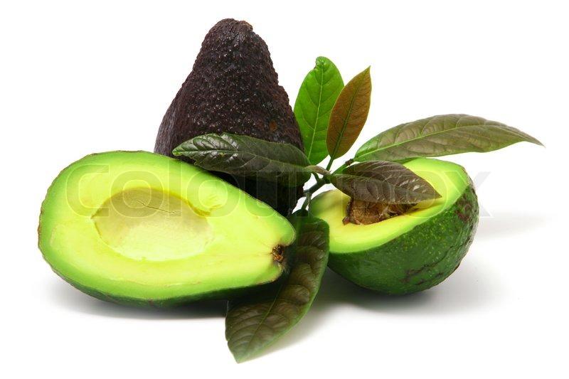 avocado mit bl ttern auf wei em hintergrund stockfoto colourbox. Black Bedroom Furniture Sets. Home Design Ideas