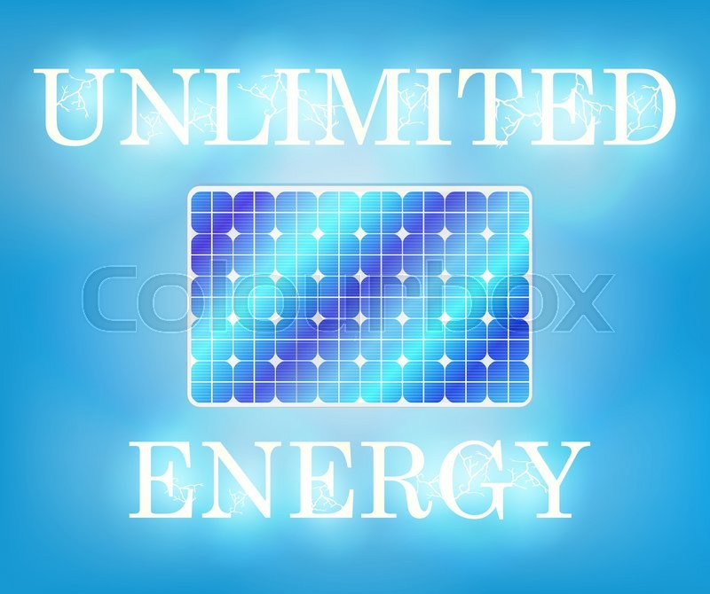 Unlimited Energy Solar Panel Flash Stock Vector