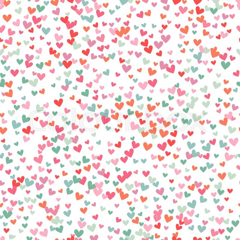 Romantic pink and blue heart seamless pattern. Vector