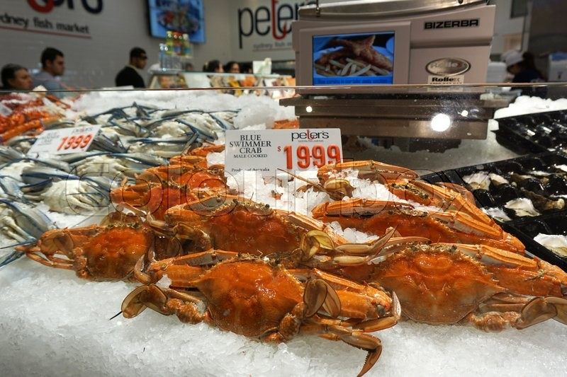 Sydney aug 21 price tag on blue swimmer crab at sydney for Fish market prices
