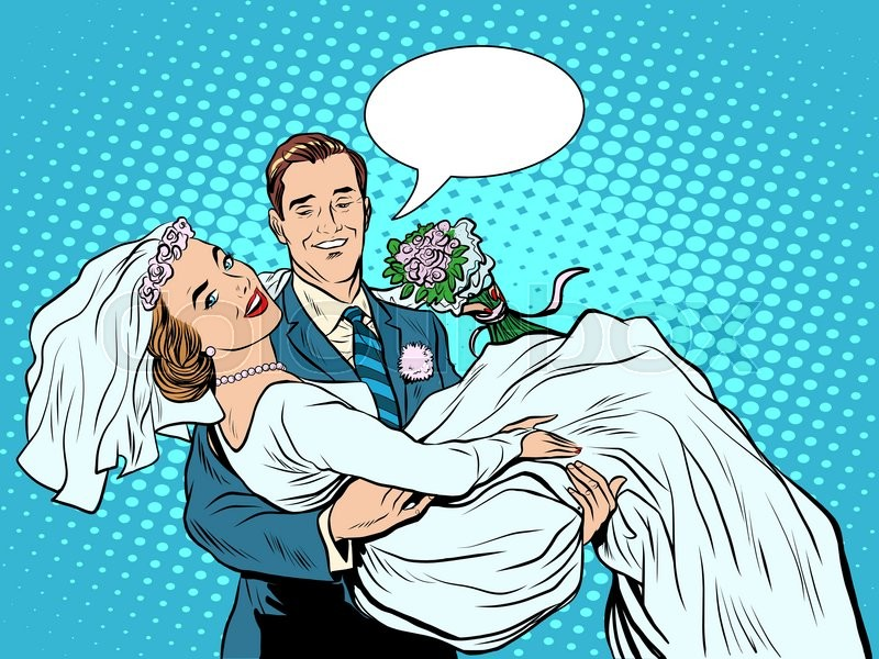 Wedding couple bride groom love on hand pop art retro style. The ...