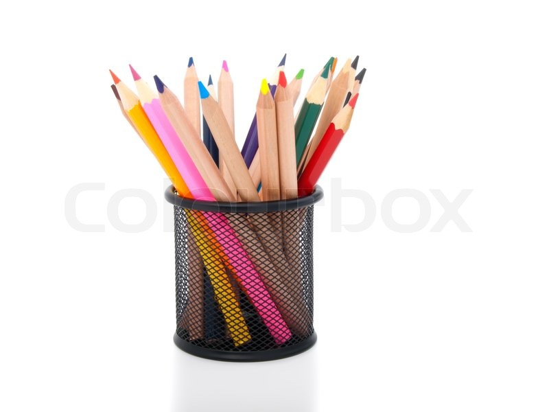 colored pencils in pot isolated stock photo colourbox. Black Bedroom Furniture Sets. Home Design Ideas