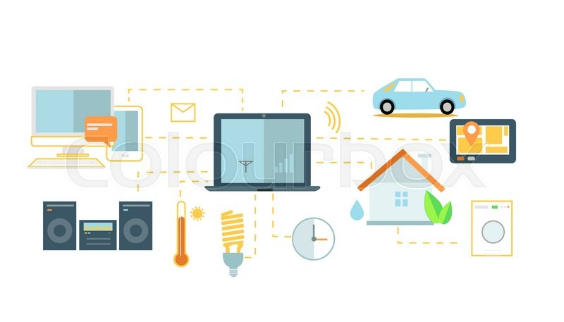 Internet of things icon flat design Network and iot technology