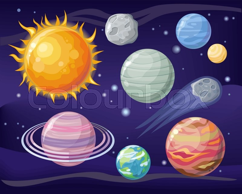 space with planet sun and star design flat star and