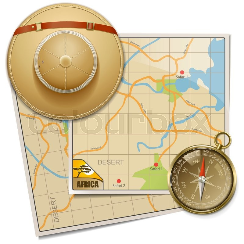0b9f7d291 Vector Safari Map with Hat isolated on ... | Stock vector | Colourbox