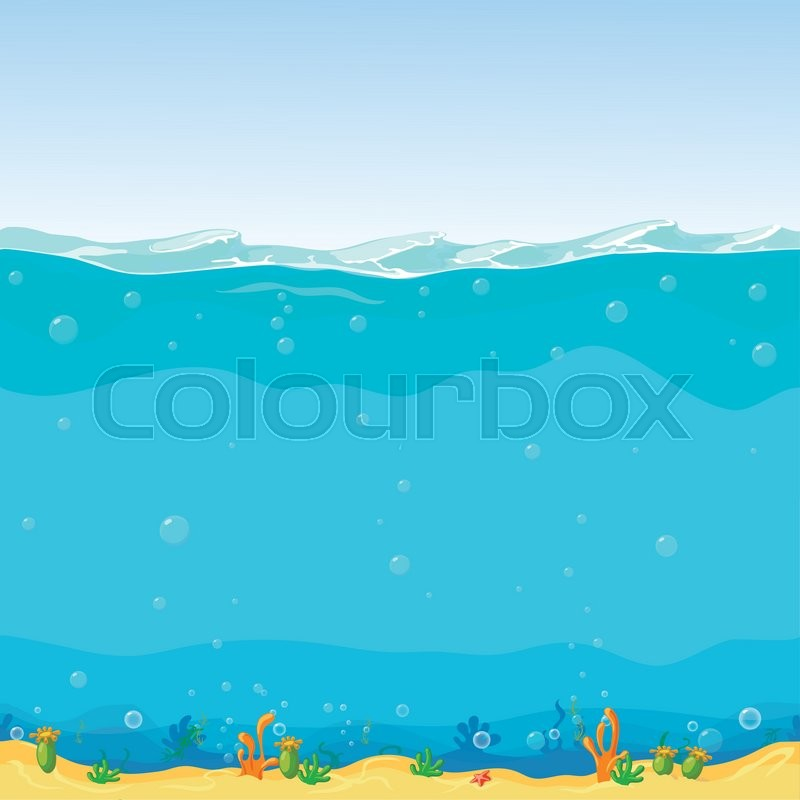 Underwater Seamless Landscape Cartoon Background For Game
