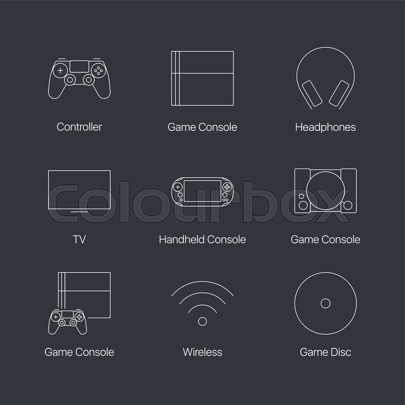 Thin Line Video Game Console Controller Linear Icons Set Isolated On