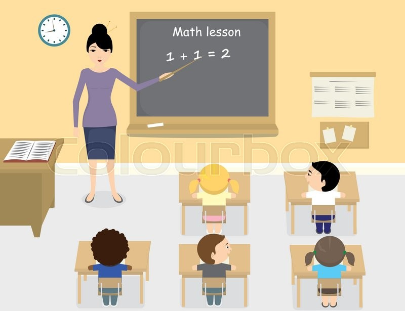 Modern Classroom Clipart ~ A vector illustration of asian teacher teaching math in