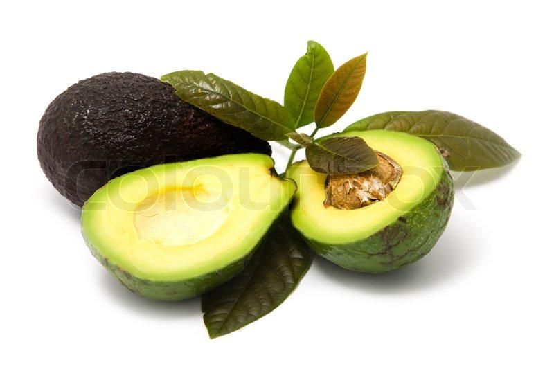 avocado mit bl ttern auf wei em hintergrund stock foto colourbox. Black Bedroom Furniture Sets. Home Design Ideas