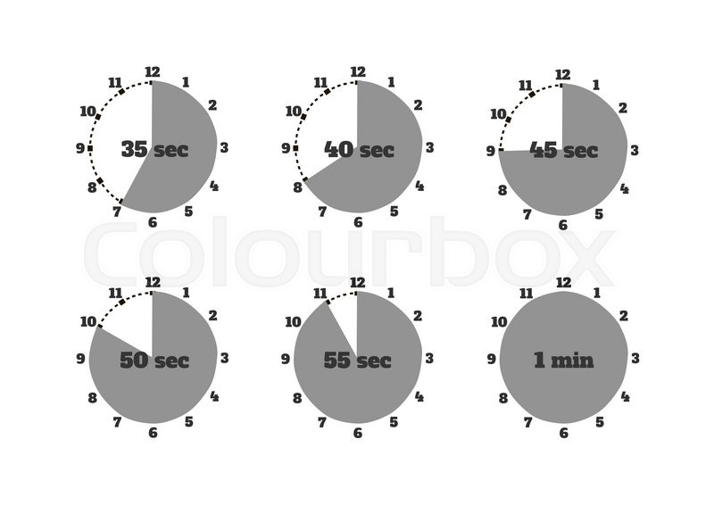 set of time second stopwatch design flat clock and stopwatch icon