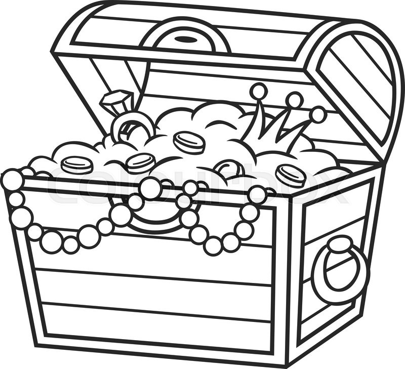 coloring book treasure chest full of gold and jewels stock rh colourbox com treasure chest vector png treasure chest vector clipart