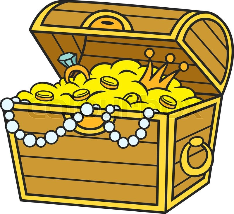 treasure chest full of gold and jewels cartoon and vector isolated