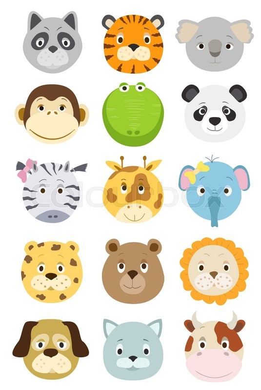 Cute cartoon animals faces set vector illustration stock vector cute cartoon animals faces set vector illustration stock vector colourbox voltagebd Gallery