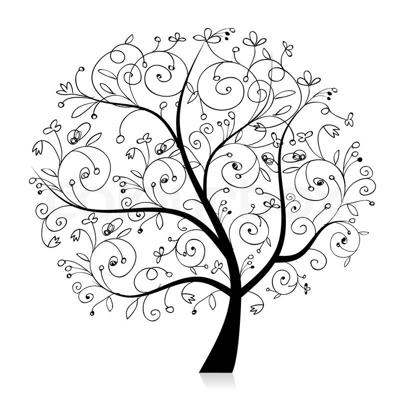 Art Tree Beautiful Black Silhouette Stock Vector Colourbox