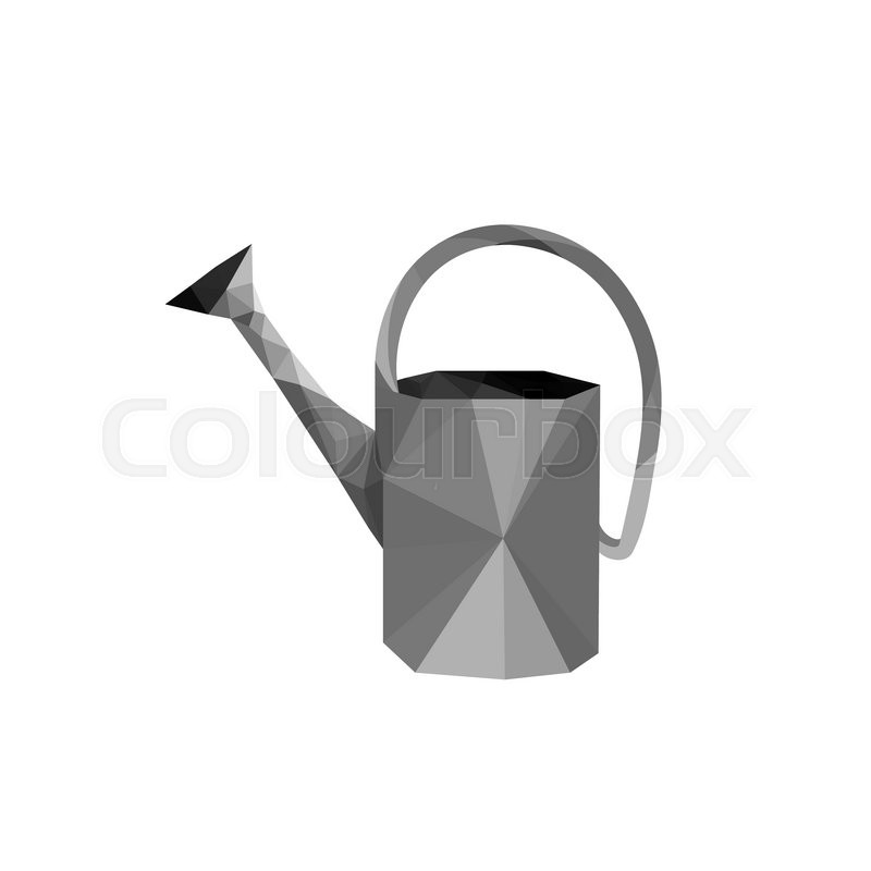 Illustration Of Origami Steel Watering Can Isolated On White