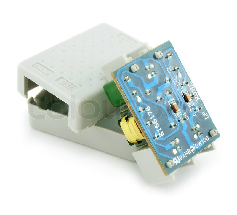 ADSL splitter electric circuit isolated on a white background ...